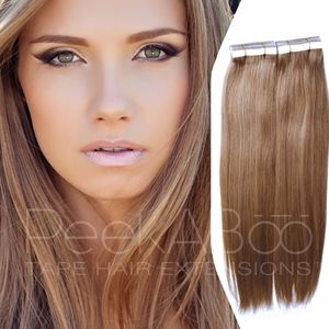 """100% REMY Tape In Hair Extensions 20"""" Sandy Brown"""